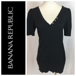 Banana Republic Black V Neck Short Sleeve Tunic